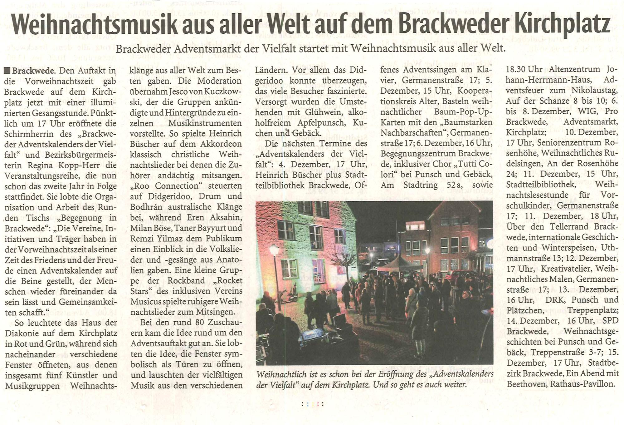 Veranstaltung Fensterstimmem Diakonie Brackwede am 1.Advent 2019 - Pressebericht Westalenblatt